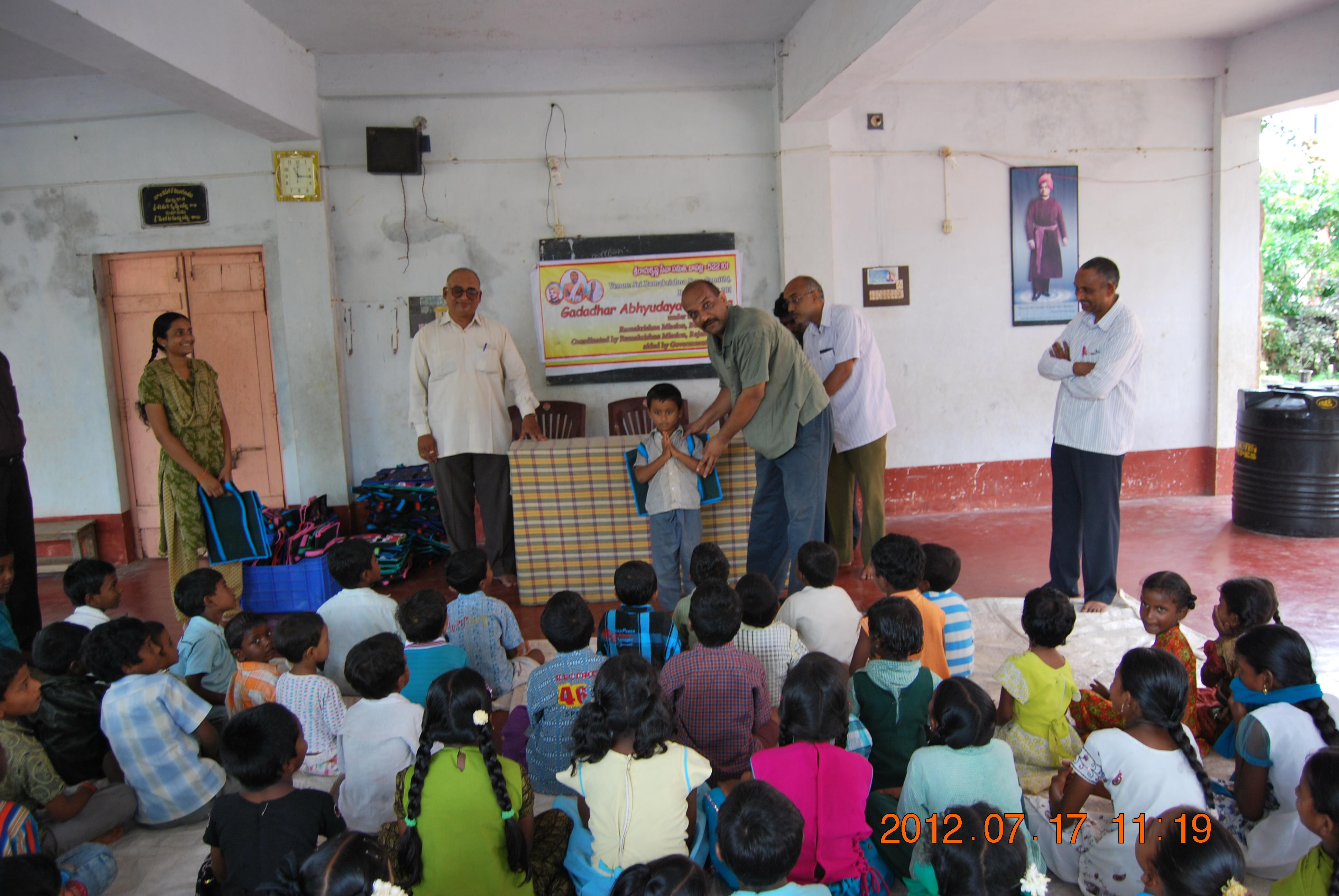 Children were given School bags etc.