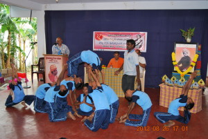Balavihar children performing Yoga for the prize winners
