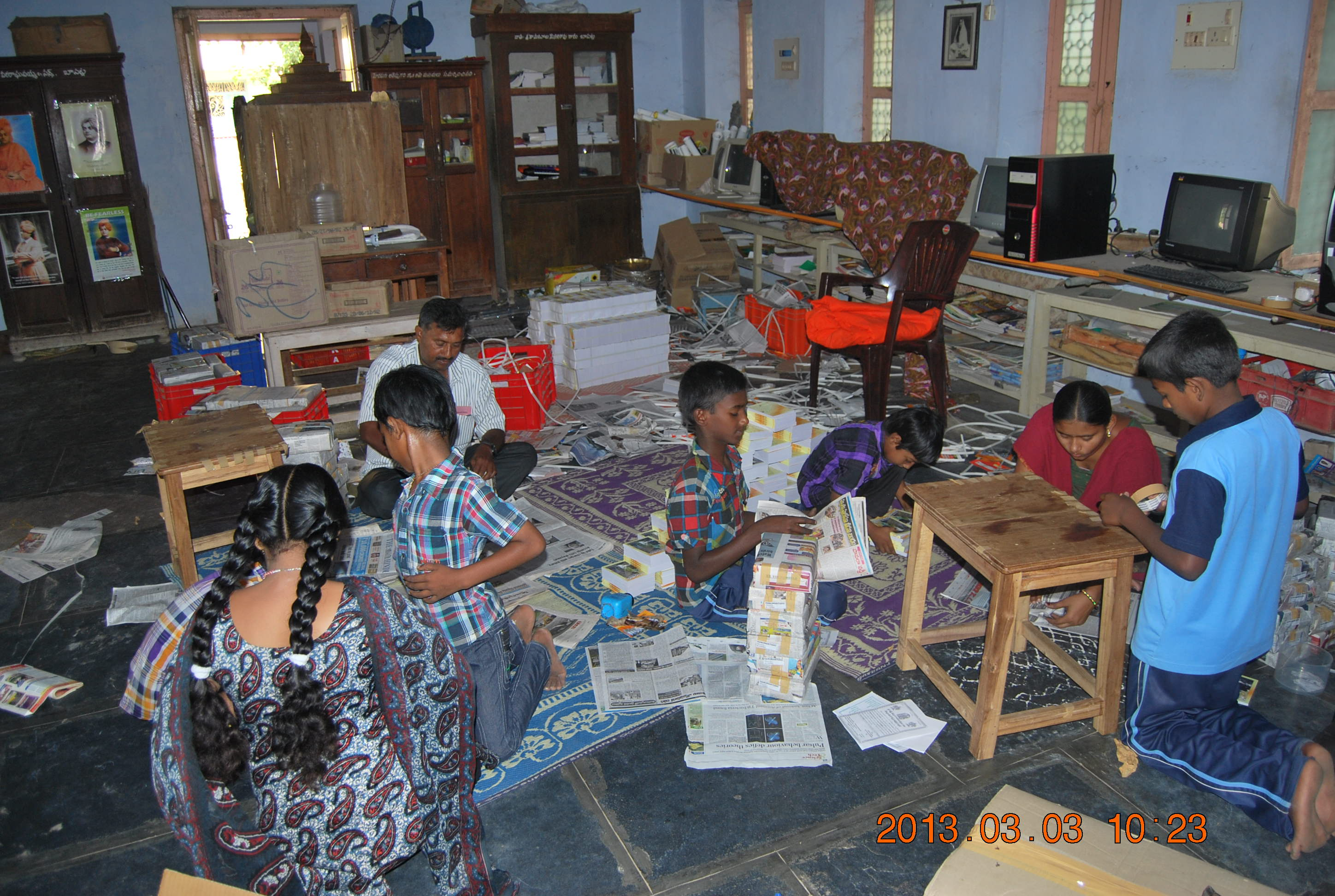 Balavihar children actively helping in sorting and packing our publications for dispatch.