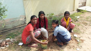 Children planting a sapling by the roadside