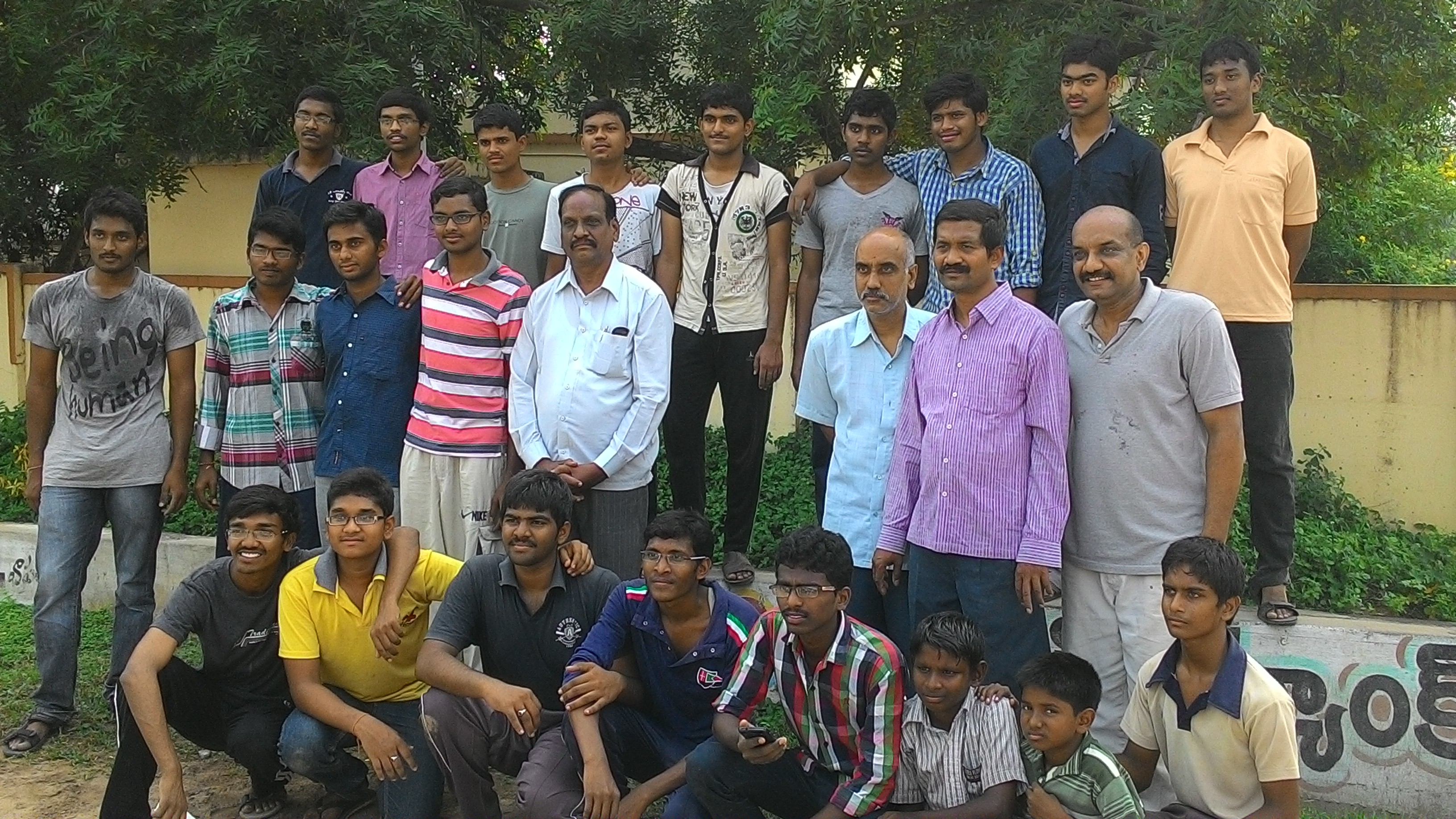 A group photo with volunteers from Bapatla Engineering College