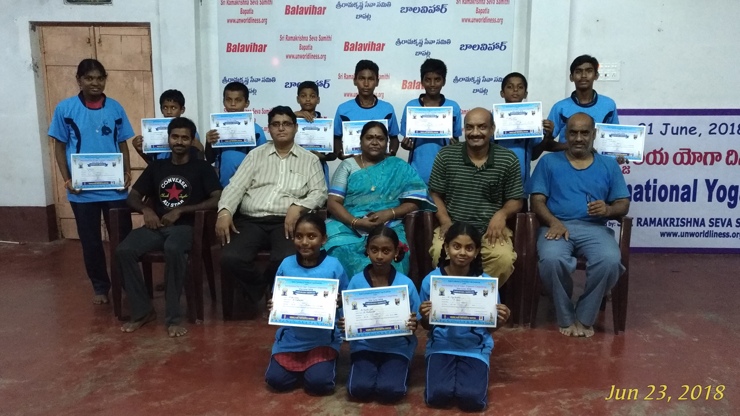With certificates they won at a local competition.
