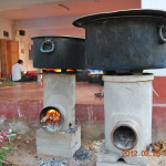 Cooking in progress. Rocket stoves designed in samithi in work.