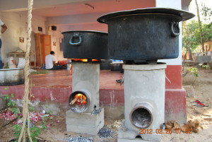 Cooking in progress. Rocket stoves designed in samithi in work.