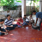 Volunteers enjoying themselves at the morning breakfast on the day of Annadanam