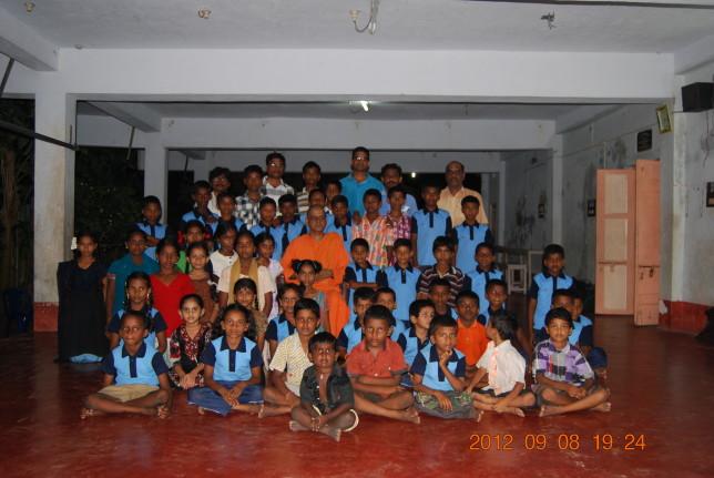 Some of the children  Rev. Swami Atmashraddhanandaji Maharaj, Editor, Vedanta Kesari.