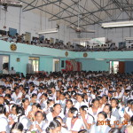 School children gathered in the rotary auditorium