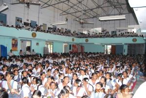 School children gathered in the rotary auditorium