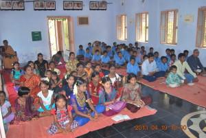 Ramanavami puja. Gathering of devotees and children.