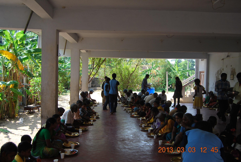 Annadanam on the eve of Sri Ramakrishna Jayanthi. People being fed.