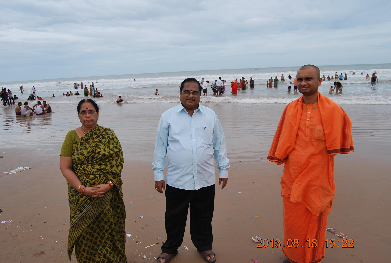Rev. Swami Purnabodhanandaji Maharaj at Suryalanka with our president Dr P. Syamasundara Murthy.