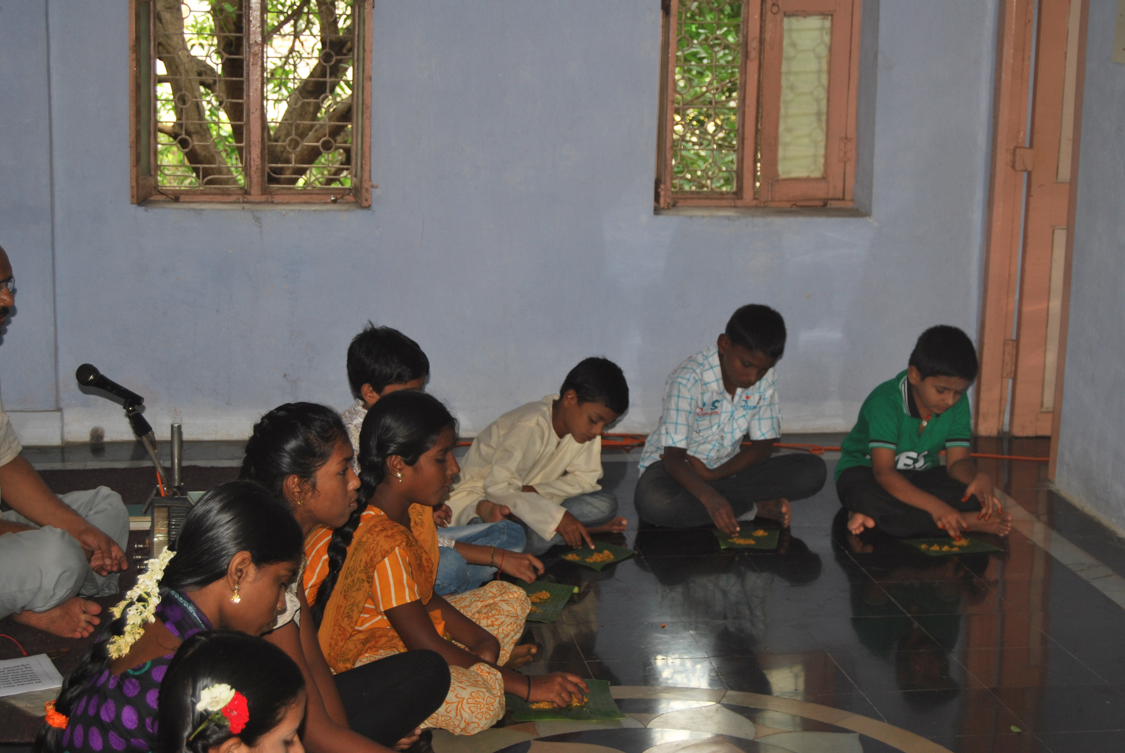 Children joining the Puja