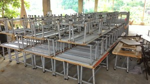 Desks and benches in making
