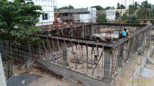 Scaffolding for the ground floor