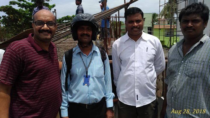 Left to Right: A. Natarajan, Secretary; Dr.N. Ramagopal, Treasurer; Sri B.Srinivasa Raju, Joint Secretary and P.Subbarao, Mason.