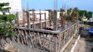 Raising pillars for the first floor